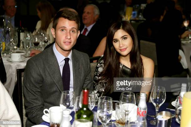 Matthew Brag and model Praya Lundberg attend The 2017 Rescue Dinner hosted by IRC at New York Hilton Midtown on November 2 2017 in New York City