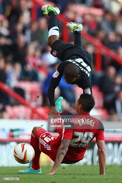 Matthew Briggs of Bristol City upends Bradley Pritchard of Charlton Athletic during the Bristol City versus Charlton Athletic npower Championship...