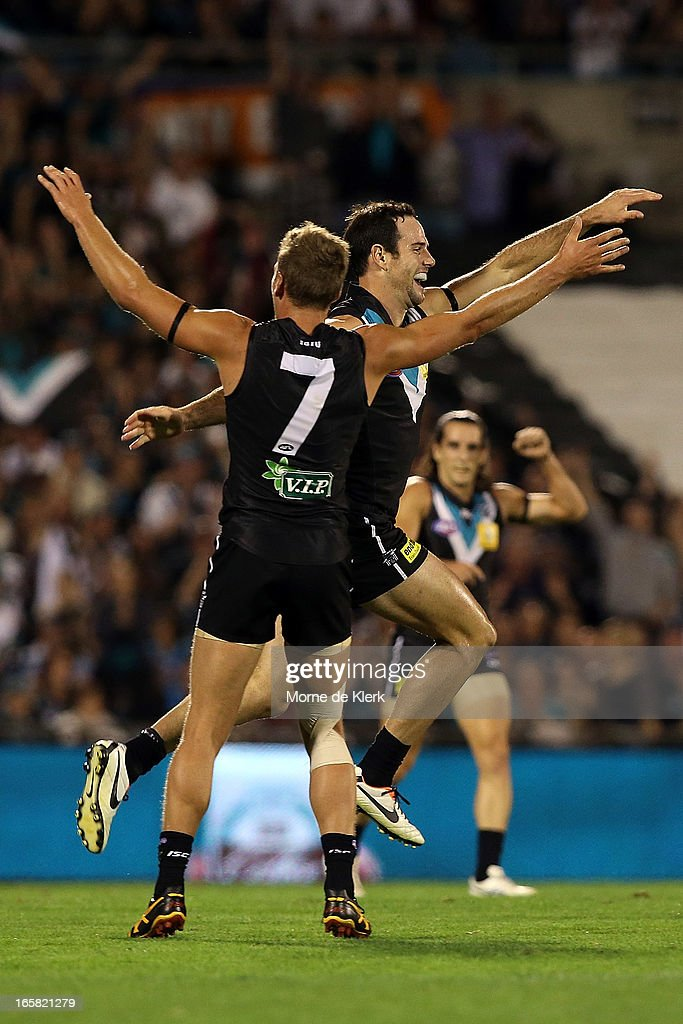 Matthew Broadbent of the Power celebrates after kickig a goal during the round two AFL match between Port Adelaide Power and the Greater Western Sydney Giants at AAMI Stadium on April 6, 2013 in Adelaide, Australia.