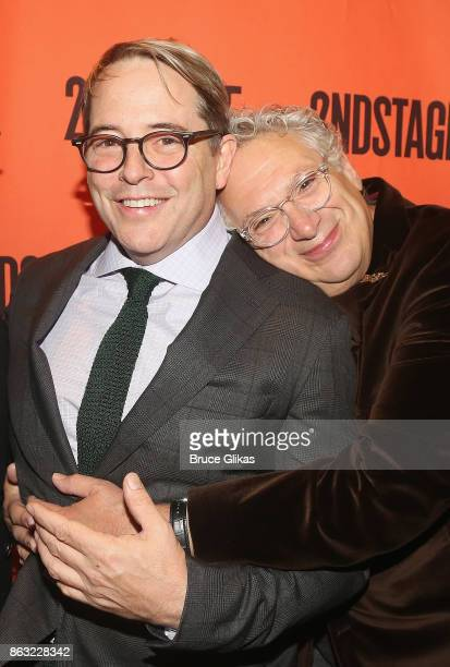 Matthew Broderick and Harvey Fierstein pose at the Opening Night arrivals for 'Torch Song' at The Second Stage Tony Kiser Theatre on October 19 2017...