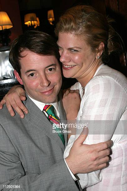 Matthew Broderick and Kristen Johnston during Glengarry Glen Ross Broadway Opening Night Curtain Call and After Party at The Royale Theater and...