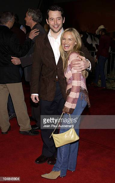 Matthew Broderick and Kristin Chenoweth during Dreamkeeper ABC AllStar Winter Party at Quixote Studios in Los Angeles California United States