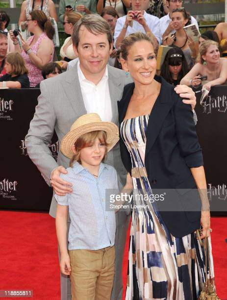 Matthew Broderick and Sarah Jessica Parker pose with their son James Broderick at the New York premiere of 'Harry Potter And The Deathly Hallows Part...