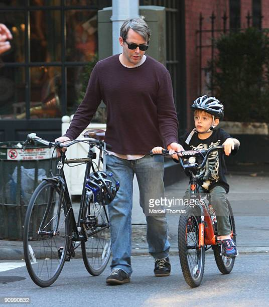 Matthew Broderick and son James Broderick are seen riding their bicycles on the streets of Manhattan on September 20 2009 in New York New York