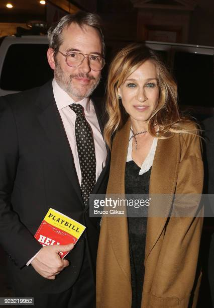Matthew Broderick and wife Sarah Jessica Parker pose at Bernadette Peters Opening Night celebration for 'Hello Dolly' on Broadway at Sardis on...