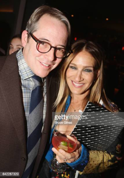 Matthew Broderick and wife Sarah Jessica Parker pose at the Opening Night Party for The New Group production of 'Evening at The Talk House' at Green...