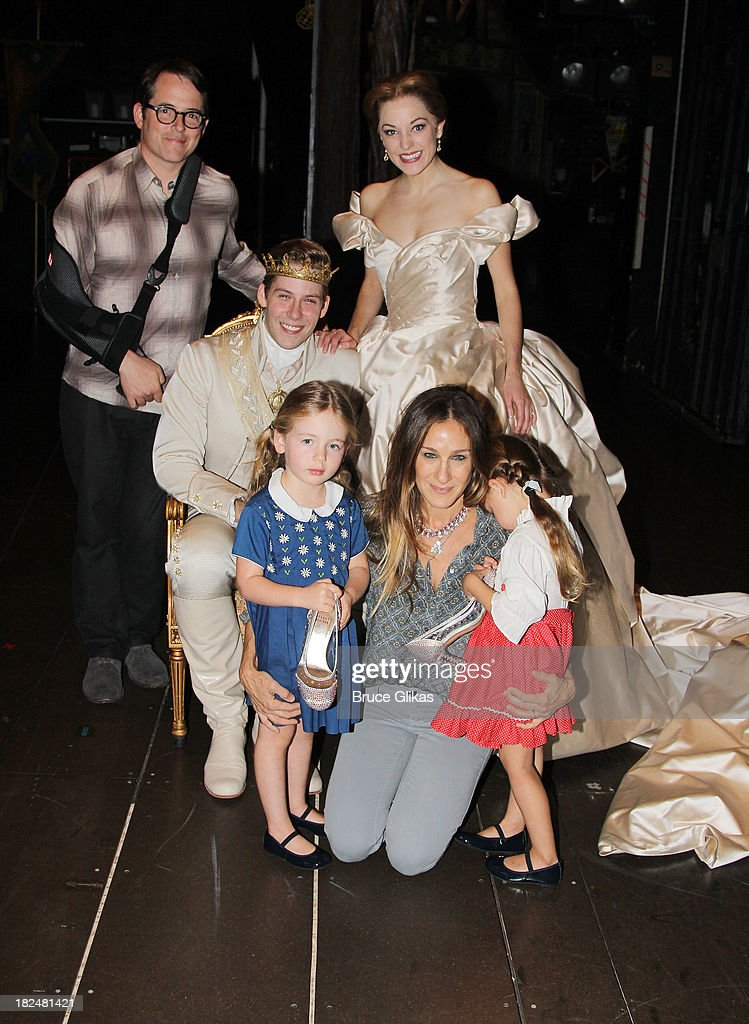 Matthew Broderick, Andy Jones as 'Topher', Laura Osnes as 'Cinderella', Marion Loretta Elwell Broderick, mother Sarah Jessica Parker and Tabitha Hodge Broderick backstage at 'Rodgers & Hammerstein's Cinderella' on Broadway at The Broadway Theater on September 29, 2013 in New York City.