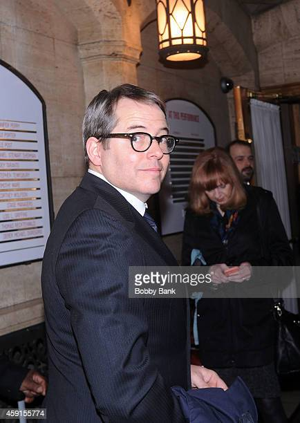 Matthew Broderick attends Everybody Rise A Celebration of Elaine Stritch outside the Al Hirshfeld Theatre on November 17 2014 in New York City