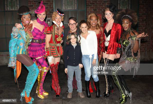 Matthew Broderick James Wilkie Broderick and Sarah Jessica Parker pose with Billy Porter as Lola The Angels backstage at the hit musical Kinky Boots...