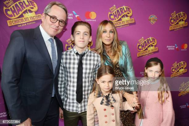 Matthew Broderick James Wilkie Broderick Tabitha Hodge Broderick Sarah Jessica Parker and Marion Loretta Broderick pose at the opening night of the...
