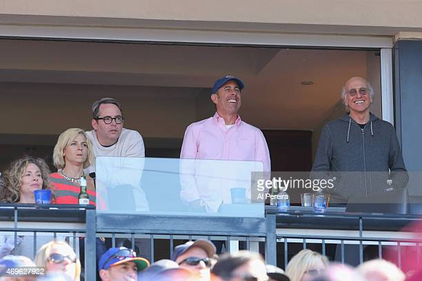 Matthew Broderick Jerry Seinfeld and Larry David attend the NY Mets home opener VS The Philadelphia Phillies at Citi Field on April 13 2015 in New...