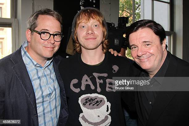 Matthew Broderick Rupert Grint and Nathan Lane attend the 'It's Only A Play' Cast Photocall at Joe Allen Restaurant on August 19 2014 in New York City