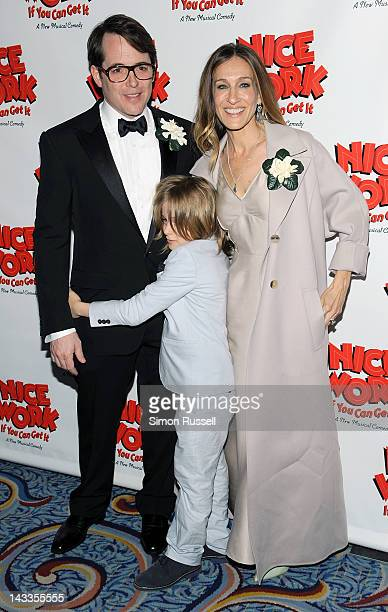 """Matthew Broderick, Sarah Jessica Parker and son, James, attend the """"Nice Work If You Can Get It"""" Broadway opening night party at the Marriott Marquis..."""