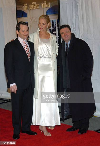 Matthew Broderick Uma Thurman and Nathan Lane during The Producers New York City Premiere at in New York City New York United States