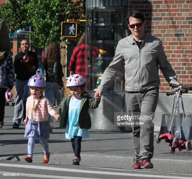 Matthew Broderick with daughters Marion Loretta Broderick and Tabitha Broderick are seen on May 14 2013 in New York City