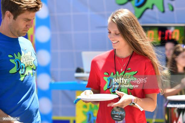 Matthew Broussard and Jenna Compono attends Double Dare presented by Mtn Dew Kickstart at Comedy Central presents Clusterfest on June 3 2018 in San...