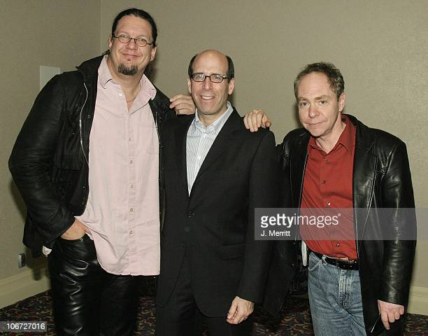 Matthew C Blank with Penn Teller during Showtime Networks Presentation to The Television Critics Association at The Hollywood Renaisssance Hotel in...