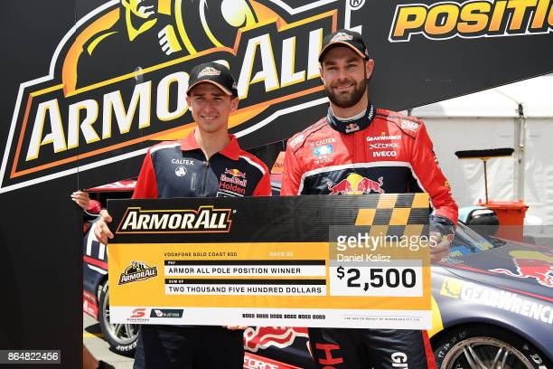 Matthew Campbell driver of the Red Bull Holden Racing Team Holden Commodore VF and Shane Van Gisbergen driver of the Red Bull Holden Racing Team...