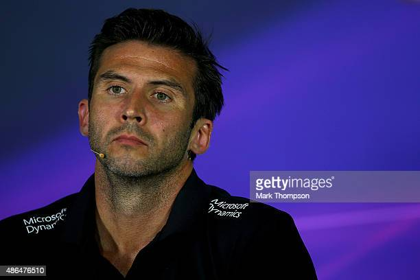 Matthew Carter, CEO of Lotus F1 looks on during a press conference after practice for the Formula One Grand Prix of Italy at Autodromo di Monza on...