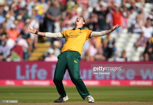 Matthew Carter of Notts Outlaws celebrates the wicket of Moeen Ali of Worcestershire Rapids during the Vitality T20 Blast Semi Final match between...