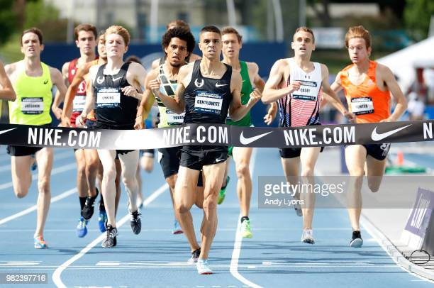 Matthew Centrowitz clelebrates as he wins the Mens 1500 Meter Final during day 3 of the 2018 USATF Outdoor Championships at Drake Stadium on June 23...