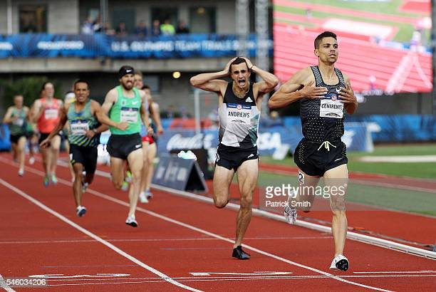 Matthew Centrowitz crosses the finishline to place first in the Men's 1500 Meter Final during the 2016 US Olympic Track Field Team Trials at Hayward...