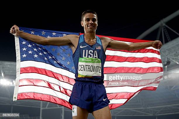 Matthew Centrowitz of the United States celebrates after winning gold in the Men's 1500 meter Final on Day 15 of the Rio 2016 Olympic Games at the...