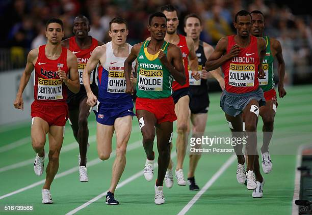Matthew Centrowitz of the United States Chris O'Hare of Great Britain Dawit Wolde of Ethiopia and Ayanleh Souleiman of Djibouti compete in the Men's...
