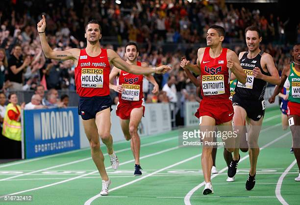 Matthew Centrowitz of the United States crosses the line to win gold ahead of Jakub Holusa of the Czech Republic in the Men's 1500 Metres Final...