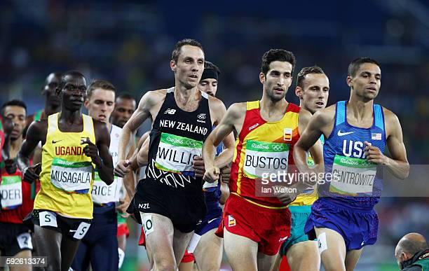 Matthew Centrowitz of the United States leads David Bustos of Spain and Nicholas Willis of New Zealand during the Men's 1500 meter Final on Day 15 of...