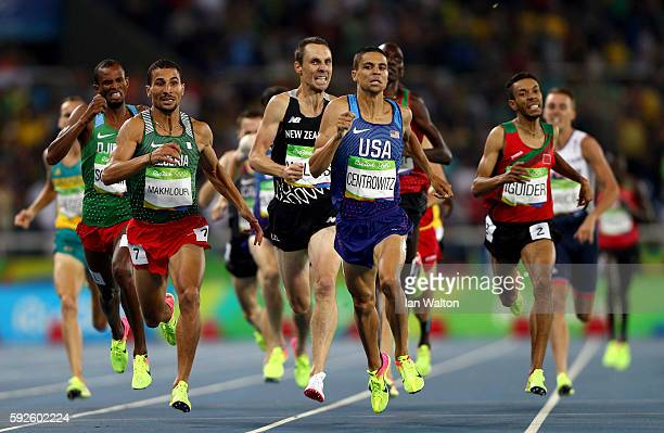 Matthew Centrowitz of the United States leads Taoufik Makhloufi of Algeria during the Men's 1500 meter Final on Day 15 of the Rio 2016 Olympic Games...