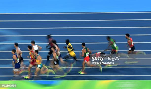 Matthew Centrowitz of the United States leads the field during the Men's 1500 meter Final on Day 15 of the Rio 2016 Olympic Games at the Olympic...