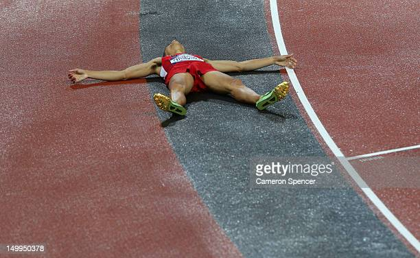 Matthew Centrowitz of the United States lies on he ack after finishing fourth in the Men's 1500m Final on Day 11 of the London 2012 Olympic Games at...