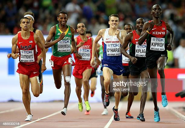 Matthew Centrowitz of the United States Mekonnen Gebremedhin of Ethiopia Chris O'Hare of Great Britain and Asbel Kiprop of Kenya compete in the Men's...