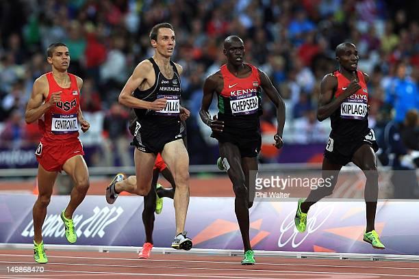 Matthew Centrowitz of the United States, Nicholas Willis of New Zealand, Nixon Kiplimo Chepseba of Kenya and Silas Kiplagat of Kenya compete during...
