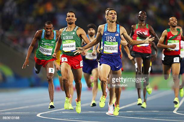 Matthew Centrowitz of the United States reacts after winning gold in front of Taoufik Makhloufi of Algeria and Nicholas Willis of New Zealand in the...