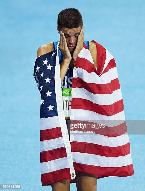 Matthew Centrowitz of the United States reacts after winning gold in the Men's 1500 meter Final on Day 15 of the Rio 2016 Olympic Games at the...