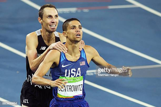 Matthew Centrowitz of the United States reacts with Nicholas Willis of New Zealand after winning gold and bronze respectively in the Men's 1500 meter...