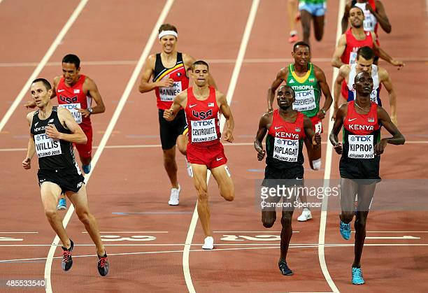 Matthew Centrowitz of the United States, Silas Kiplagat of Kenya and Asbel Kiprop of Kenya cross the finish line in the Men's 1500 metres semi-final...