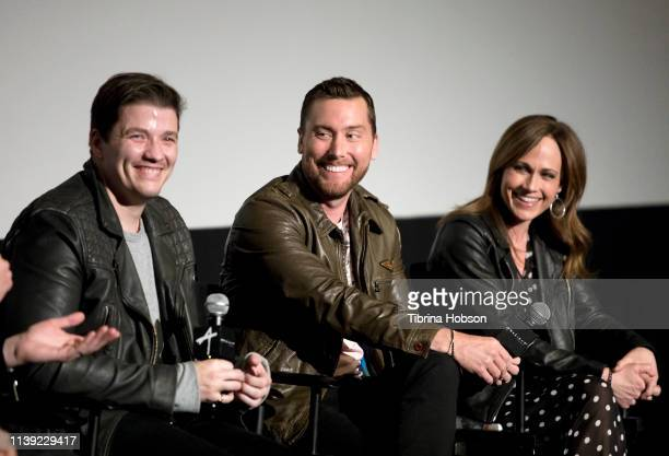 Matthew Charles Ducey Lance Bass and Nikki Deloach attend the YouTube original documentary 'The Boy Band Con The Lou Pearlman Story' at ArcLight...
