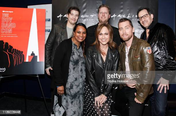Matthew Charles Ducey Sarba Das Aaron Kunkel Nikki Deloach Lance Bass and Nicholas Caprio attend the YouTube original documentary 'The Boy Band Con...