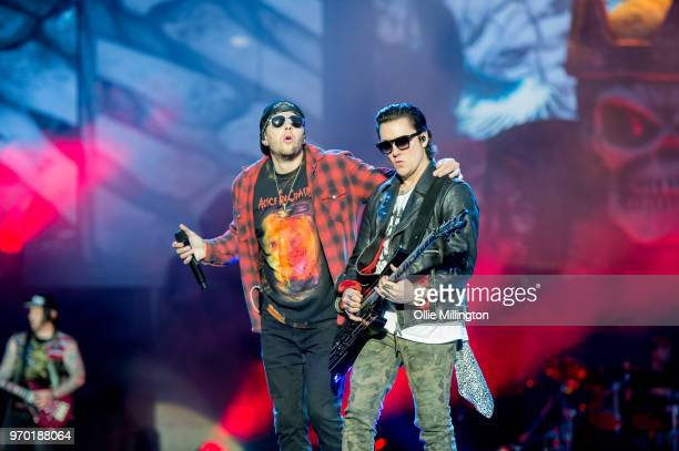 Matthew Charles Sanders aka M Shadows of Avenged Sevenfold and Brian Elwin Haner Jr aka Synyster Gates performing onstage during the bands main stage...