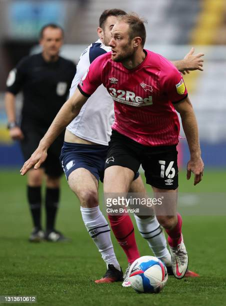 Matthew Clarke of Derby County controls the ball whilst under pressure during the Sky Bet Championship match between Preston North End and Derby...