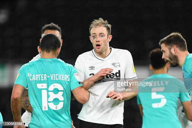 Matthew Clarke of Derby County with a black-eye during the Sky Bet Championship match between Derby County and Bournemouth at the Pride Park, Derby...