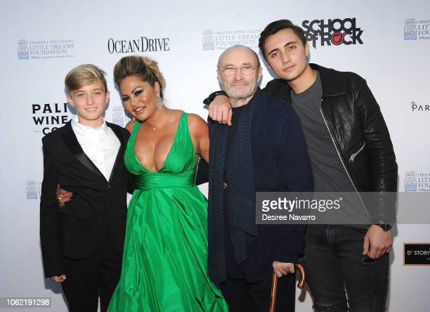 Matthew Collins Orianne Cevey Phil Collins and Nicholas Collins attend the 4th Annual Dreaming on the Beach Gala at Fillmore Miami Beach on November...