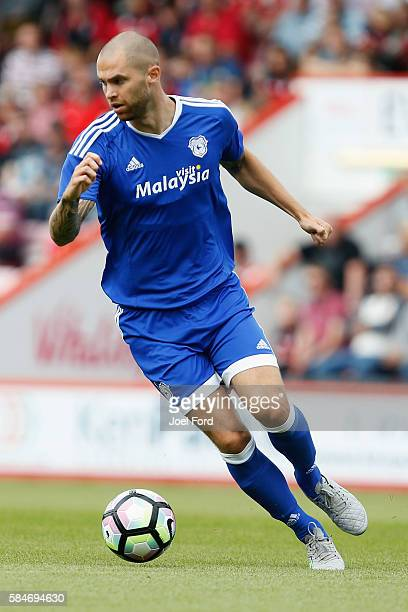 Matthew Connolly of Cardiff City during during a preseason match between Bournemouth and Cardiff City at Goldsands Stadium on July 30 2016 in...