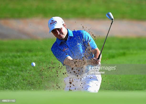 Matthew Cort of Beedles Lake Golf Club plays out of a bunker on the 18th green during the fourth round of the PGA PlayOffs at Antalya Golf Club PGA...