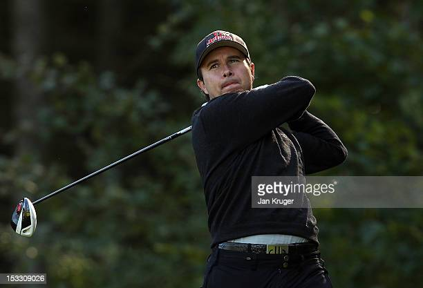 Matthew Cort of Rothley Park GC tees off during day 1 of the Skins PGA Fourball Championship at Forest Pines Hotel Golf Club on October 3 2012 in...