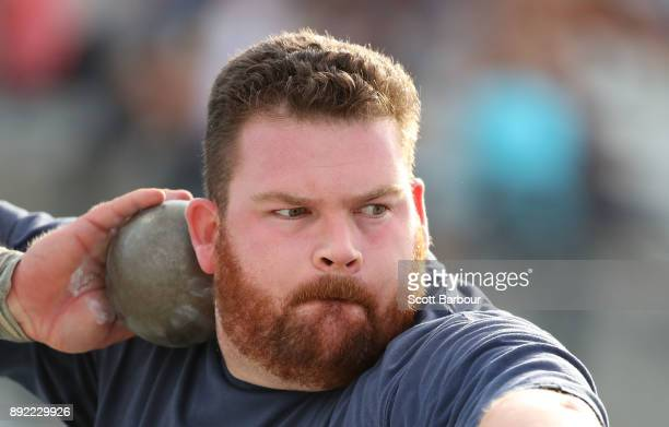 Matthew Cowie of Western Australia competes in the Mens Shot Put Open during Zatopek 10 at Lakeside Stadium on December 14 2017 in Melbourne Australia