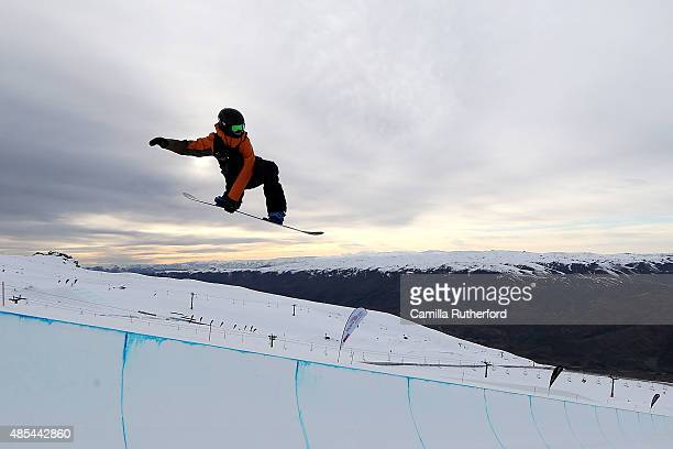 Matthew Cox of Australia competes in the FIS Snowboard World Cup Halfpipe Qualification during the Winter Games NZ at Cardrona Alpine Resort on...